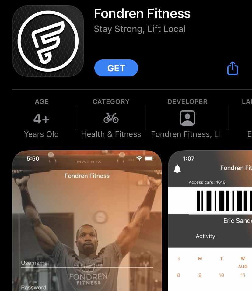 Screenshot of Fondren Fitness app from Apple App Store